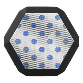 Elegant Blue Glitter Polka Dots Pattern Black Bluetooth Speaker
