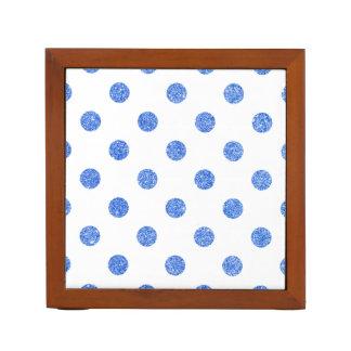 Elegant Blue Glitter Polka Dots Pattern Desk Organiser