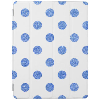 Elegant Blue Glitter Polka Dots Pattern iPad Cover