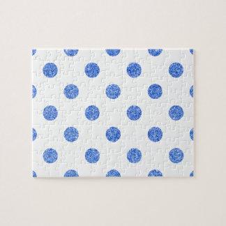 Elegant Blue Glitter Polka Dots Pattern Jigsaw Puzzle