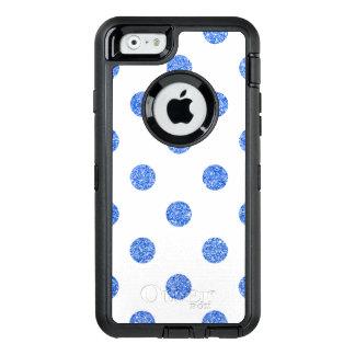 Elegant Blue Glitter Polka Dots Pattern OtterBox Defender iPhone Case