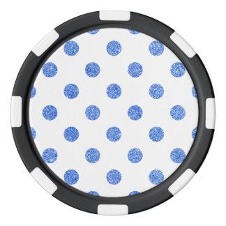 Elegant Blue Glitter Polka Dots Pattern Poker Chips
