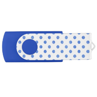 Elegant Blue Glitter Polka Dots Pattern USB Flash Drive