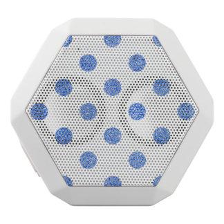 Elegant Blue Glitter Polka Dots Pattern White Bluetooth Speaker
