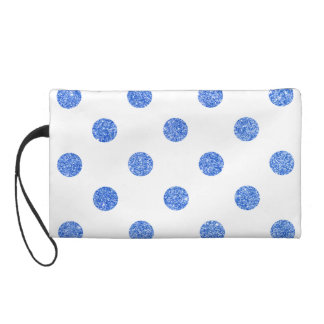 Elegant Blue Glitter Polka Dots Pattern Wristlet