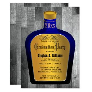 Elegant Blue   Gold Bar Bottle College Graduation Card