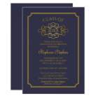 Elegant Blue | Gold College Graduation Party Card