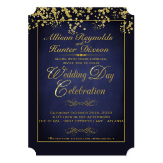 Elegant Blue & Gold Glitter Wedding Invitations