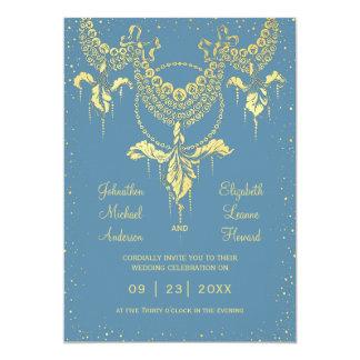 Elegant Blue Gold Iris Garland Wedding Invitation