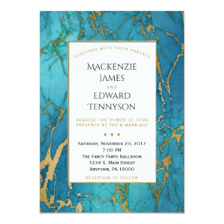 Elegant Blue Gold Marble Wedding Invitation
