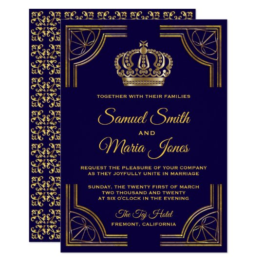 Gold And Blue Wedding Invitations: Elegant Blue Gold Ornate Crown Wedding Invitation