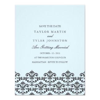 Elegant Blue & Gray Damask Wedding Save The Date Personalized Invitation