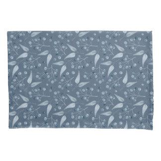 Elegant Blue-Gray Leafs & Berries Pattern Pillowcase