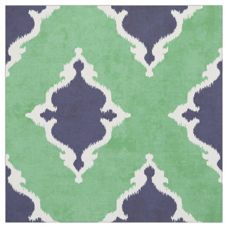 elegant blue green damask ikat tribal pattern fabric