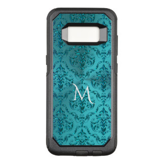 Elegant Blue Green Damask Monogram OtterBox Commuter Samsung Galaxy S8 Case