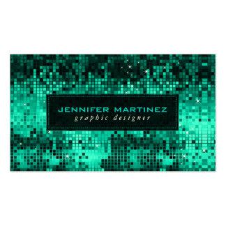 Elegant Blue-Green Disco Ball Glitter & Sparkles Pack Of Standard Business Cards