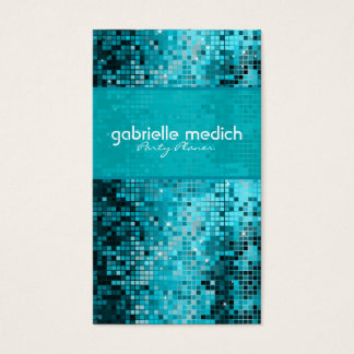 Elegant Blue-Green Glitter Metallic Sequence Business Card