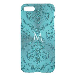 Elegant Blue Green Metallic Damask Monogram iPhone 8/7 Case