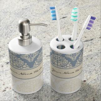 Elegant Blue Grey & Cream Double Damask Bath Set