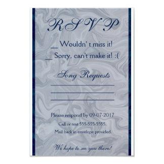 Elegant Blue & Grey Marble RSVP Card 9 Cm X 13 Cm Invitation Card