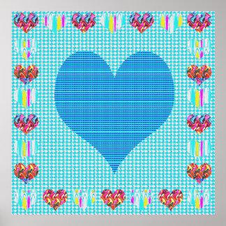 Elegant Blue Heart Abstract Artistic Creation Print