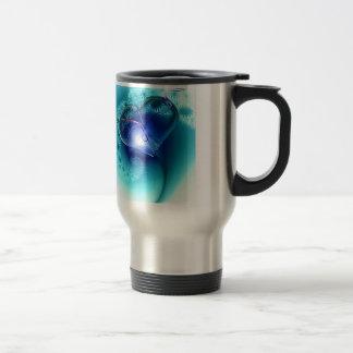Elegant Blue Heart Stainless Steel Travel Mug
