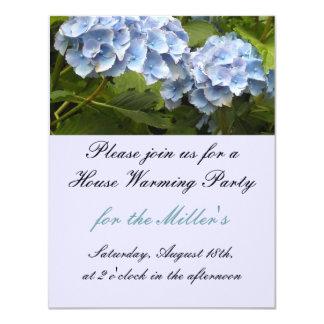 Elegant Blue Hydrangea House Warming Invitation