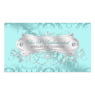 Elegant Blue Ice Damask Swirl Double-Sided Standard Business Cards (Pack Of 100)