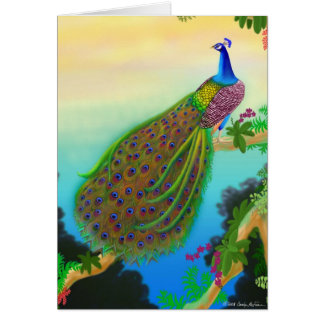 Elegant Blue Indian Peacock Greeting Card