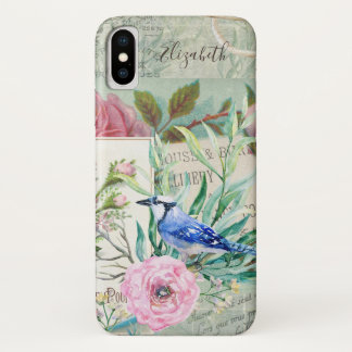 Elegant Blue Jay Bird Vintage Pink Floral and Name iPhone X Case