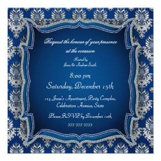 Elegant blue jewel damask any occasion invitation