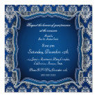 Elegant blue jewel damask any occasion invitation