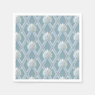Elegant Blue Lattice Ivory Feather Fans Pattern Disposable Serviette