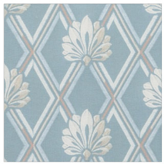 Elegant Blue Lattice Ivory Feather Fans Pattern Fabric