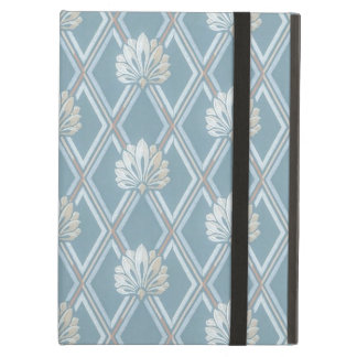 Elegant Blue Lattice Ivory Feather Fans Pattern iPad Air Case