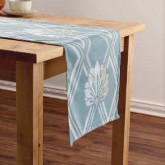 Elegant Blue Lattice Ivory Feather Fans Pattern Short Table Runner
