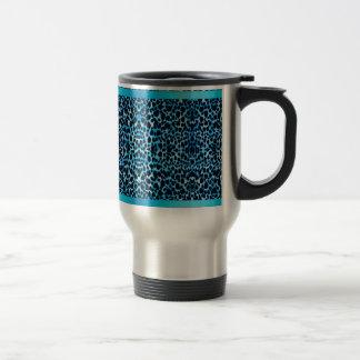 Elegant Blue Leopard Stainless Steel Travel Mug