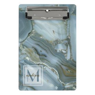 Elegant Blue Marble Natural Stone Pattern Monogram Mini Clipboard