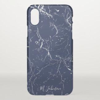 Elegant Blue Marble Personalised iPhone X Case