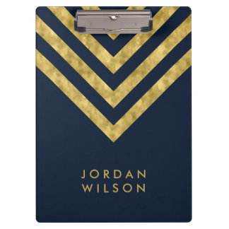 Elegant Blue Name Faux Gold Chevron Clipboard