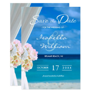 Elegant Blue Ocean Beach Save the Date Invitation