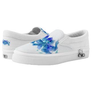 Elegant Blue Orchid Zipz Slip On-US-Women Printed Shoes
