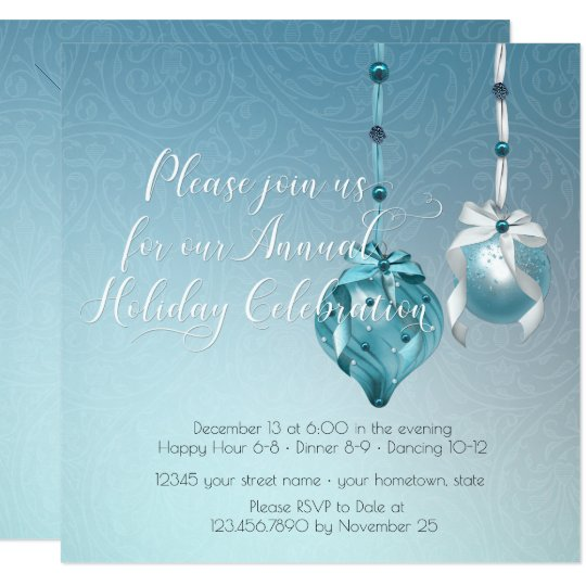Elegant Blue Ornaments Damask Christmas Party Card