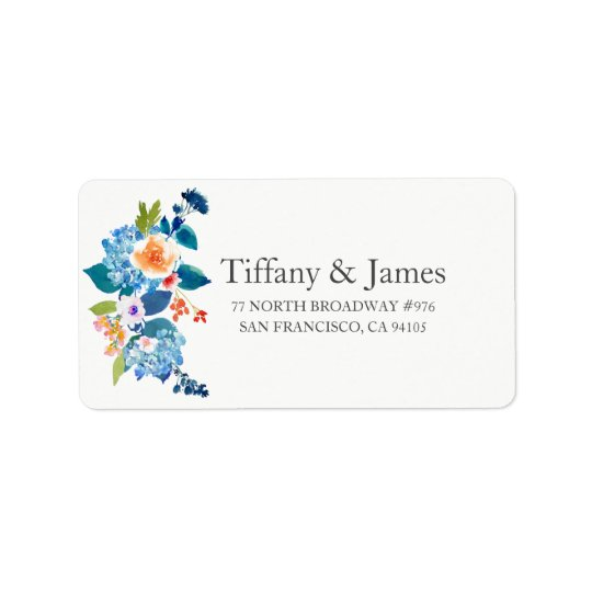 Elegant Blue &  Peach Floral Wedding Address Label