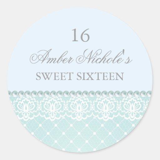 Elegant Blue Pearl & Lace | Sweet 16 Sticker