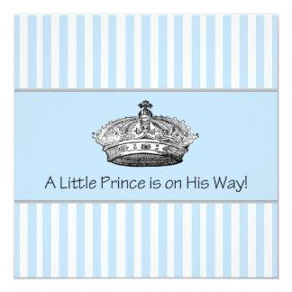 Elegant Blue Prince Baby Boy Shower Card