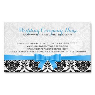 Elegant Blue Ribbon Black & White Damasks 2 Magnetic Business Cards