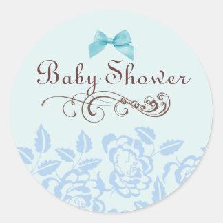 Elegant Blue Rose Baby Shower Envelope Sticker