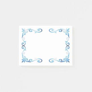 Elegant Blue Scroll Frame Post-it Notes