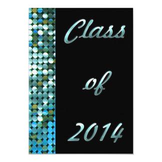 Elegant Blue Sequin Look 2014 Graduation Add Photo 5x7 Paper Invitation Card